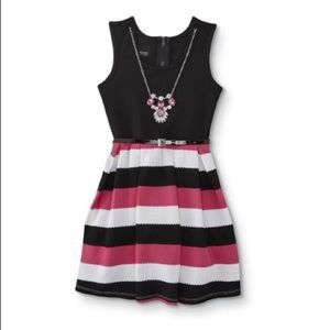 Holiday Editions Girls' Belted Dress & Necklace